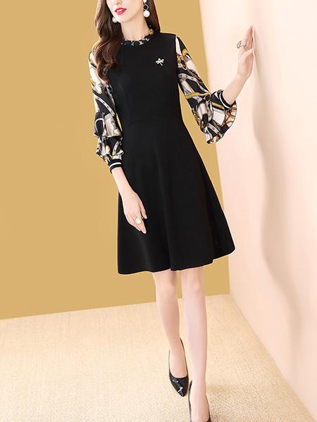 黑色袖子印花连衣裙展示图
