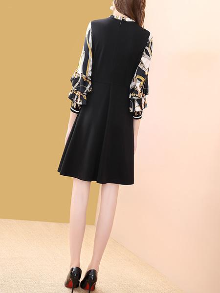 黑色袖子印花连衣裙展示图1
