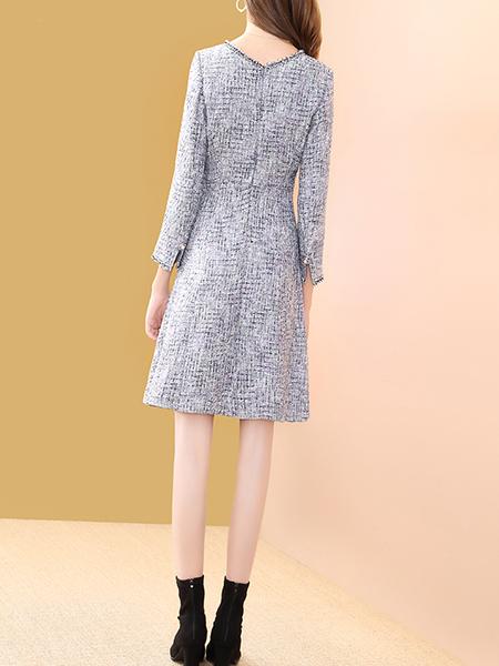 v领小香风连衣裙展示图1