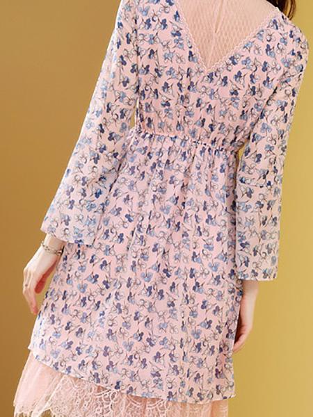 粉色碎花连衣裙展示图1