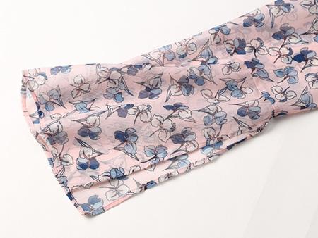 粉色碎花连衣裙细节2