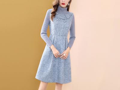 粗纺蓝色假两件连衣裙女冬季中长款