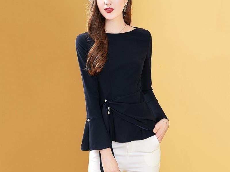 时尚洋气喇叭袖上衣设计感小众收腰显瘦衬衫