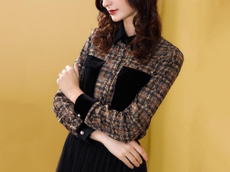 女士长袖衬衫宽松衬衣时尚复古通勤撞色上衣