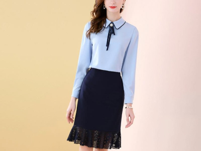 简约时尚优雅珍珠扣蕾丝拼接两件长袖套装裙