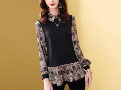 上衣女长袖修身显瘦针织拼接时尚洋气衬衫领