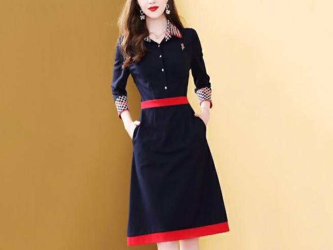 连衣裙春季新款polo领气质贵妇人高端洋气