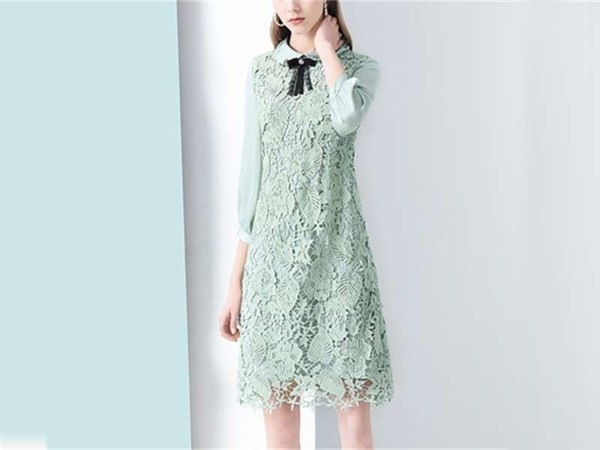 绿色宽松连衣裙女娃娃领遮肚中长款裙子