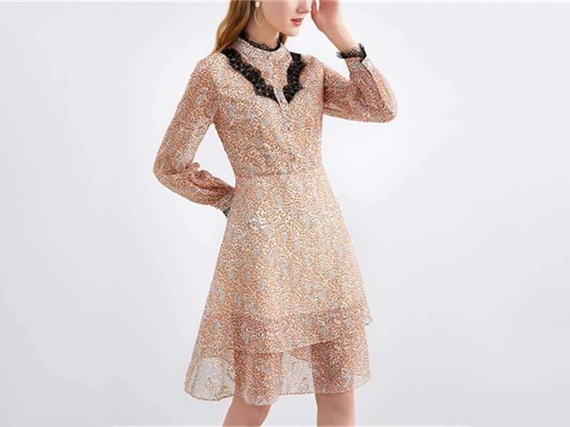 雪纺碎花连衣裙长款蕾丝显瘦印花