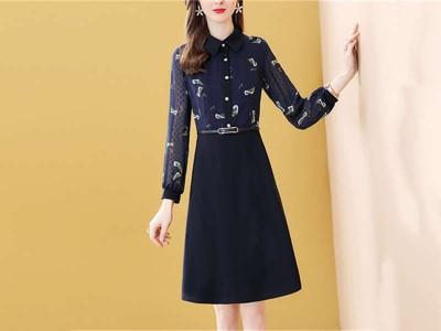 藏蓝色假两件连衣裙中长款印花显瘦a字裙