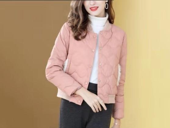 短羽绒服女短款 时尚立领水波纹轻薄休闲外套