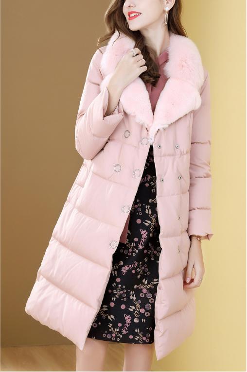 羽绒服粉红中长外