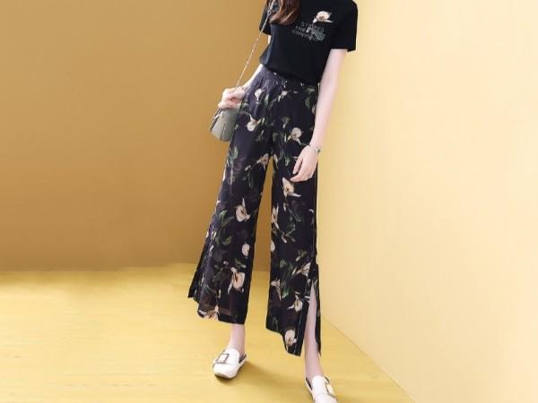 真丝坠感阔腿裤两件套女时尚气质显瘦套装裤