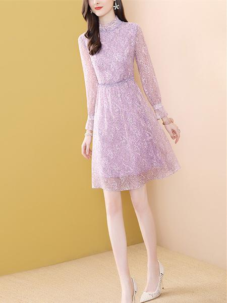 紫色印花雪纺连衣裙A字裙