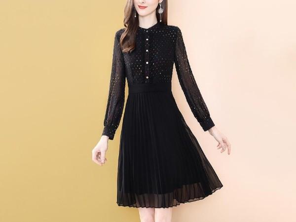 黑色立领连衣裙女中长款淑女气质A字裙子