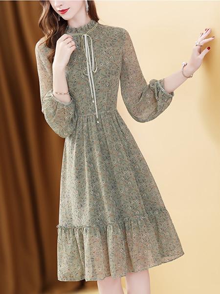 雪纺连衣裙长袖宫廷风收腰中长款碎花仙女裙子