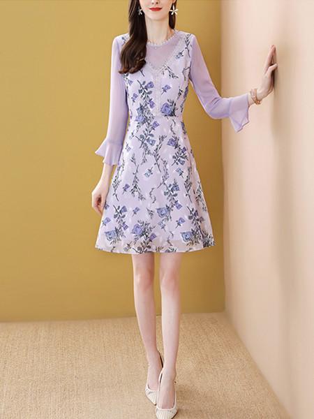 紫色印花拼接连衣裙温柔风气质减龄裙