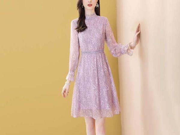 紫色印花雪纺连衣裙中长款减龄A字裙子