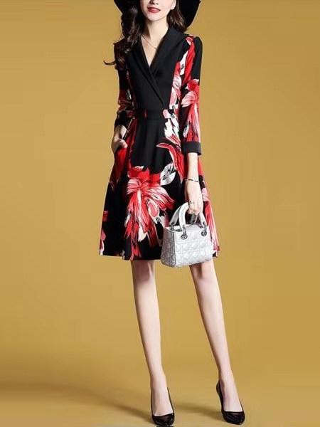 连衣裙法式复古气质流行裙子